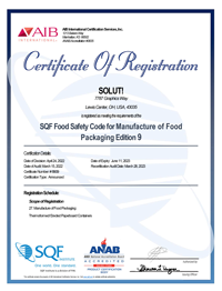 SQF Certificate of safety